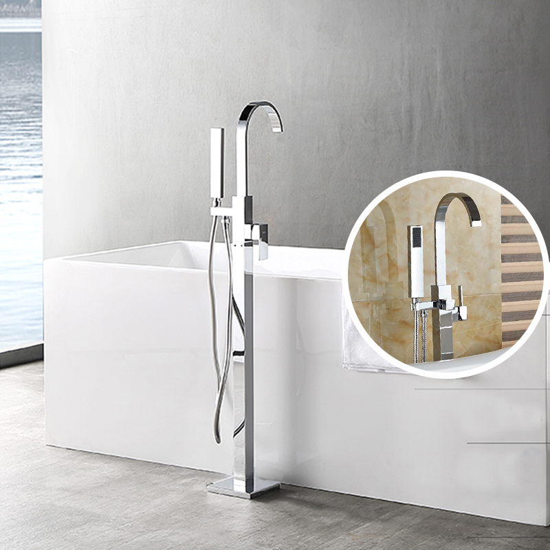 Contemporary Chrome Bathroom Tub Mixer Tap Two Model Switch Bathroom Faucet Floor Mount Tub Tap Single Handle With Handle Shower