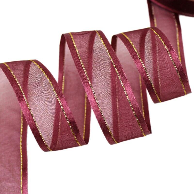 25 мм цвет красного вина залп золотой край ленты из органзы оптовая продажа подарочной упаковки украшение ленты