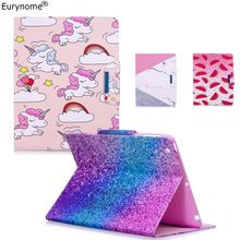 Case For Ipad Air 2 Case Air2 Pu Leather Wallet Card Cartoon Unicorn Marble Stand Case for Ipad Air Pad Cover A1566 A1567(China)