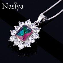 Брендовое модное ожерелье с топазом для женщин твердые 925 драгоценности