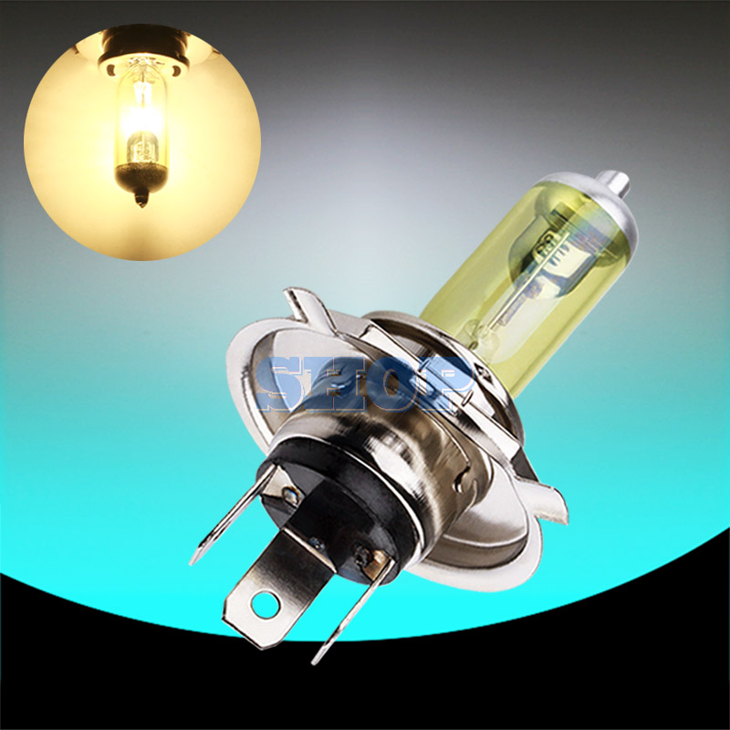12V H4 55W Yellow Fog Lights Halogen Bulb High Power