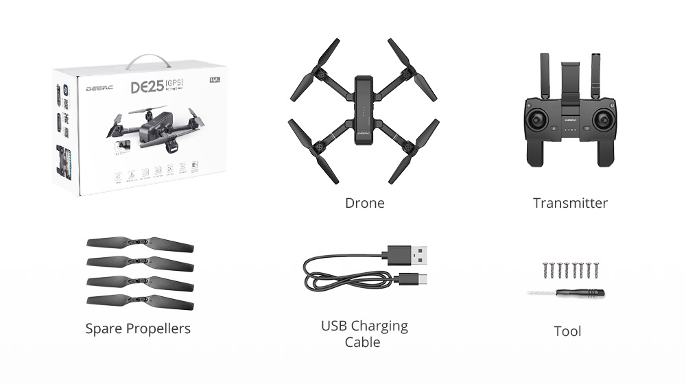 DEERC DE25 GPS Drone FPV with 1080p HD Camera Wifi RC
