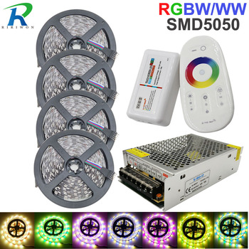 Full Set RGBW 20M LED Strip Light Flexible Diode Stripe SMD 5050 Waterproof +RF Touch MiLight Controller + DC 12V Power Adapter