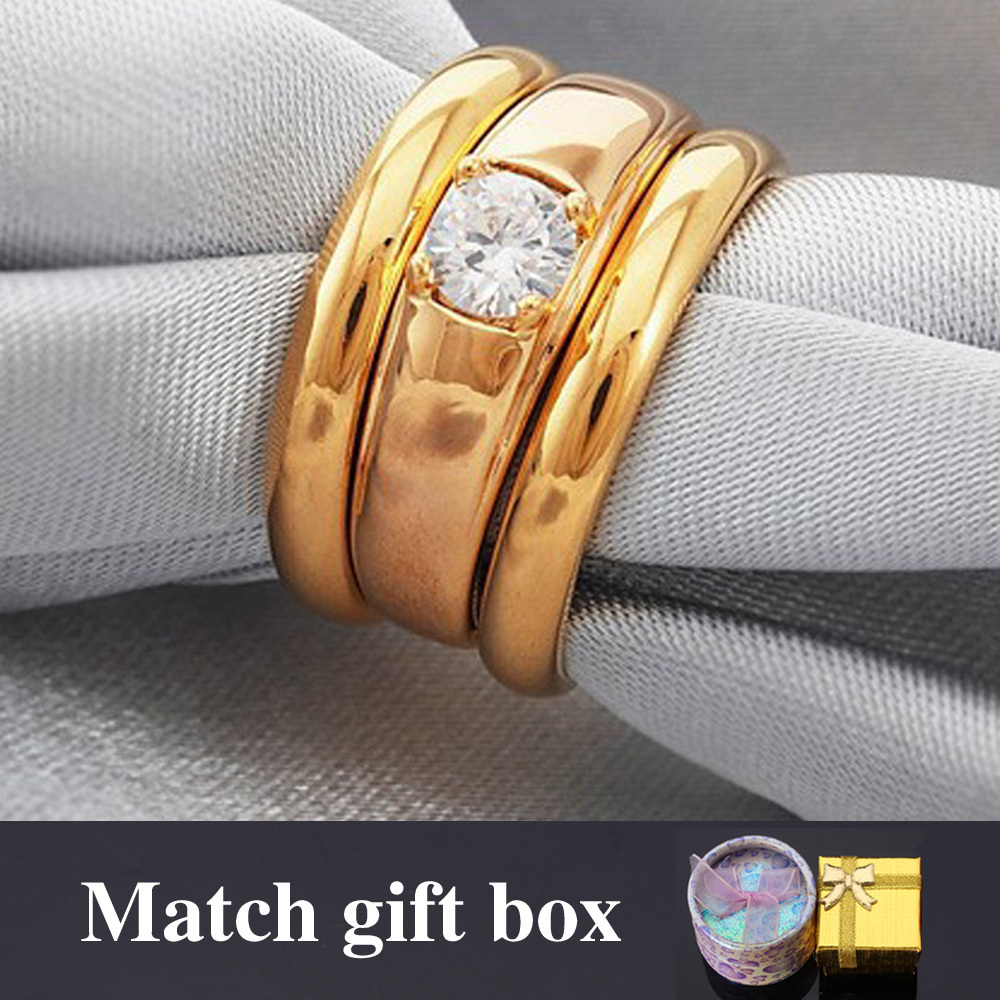 Wedding Ring Set For Men And Women Couple Gift Gold Color Jewelry Cubic  Zirconia His And