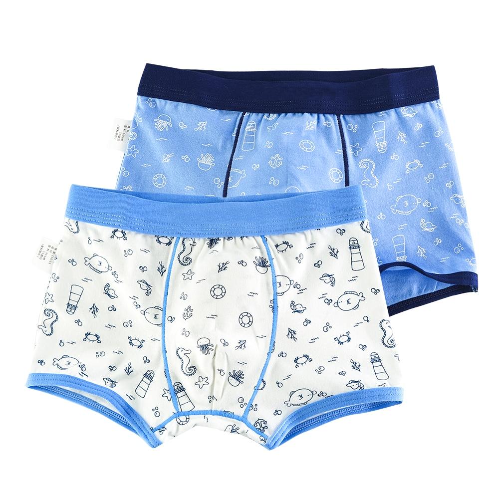 2 Pcs/lot Animal Pattern Kids Underwear Soft Organic Cotton Teenager Underpants Childrens Boys Shorts Baby Panties 2-16y