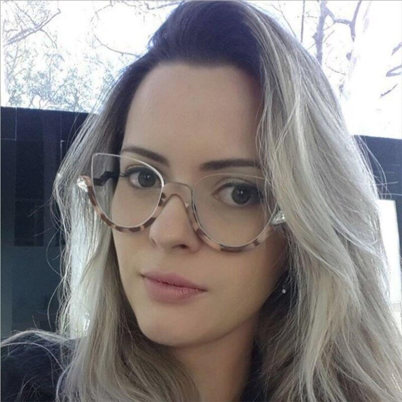 glasses frames eyewear women 2018 Cats eye Half frame Rhinestone fashion cat eyeglasses sexy Sunglasses Transparent