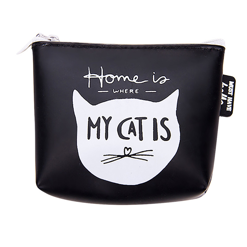 Women Girls Cute Cat Printed Coin Purse Fashion Snacks Coin Purses Wallet Bag Silicone Zipper Small Change Pouch Key Holder Bags 2017new coin purses wallet ladies 3d printing cats dogs animal big face fashion cute small zipper bag for women mini coin purse