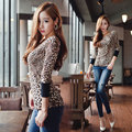 New Fashion Korean Style 2015 Women Summer Leopard Print Blouse Lady Sexy Off Shoulder Top Shirt Slim Stretchy O neck Blouse