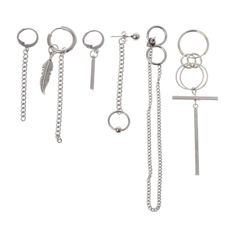 6 pièces/ensemble bijoux boucles d'oreilles coréen en acier inoxydable Hip Hop charmes pour unisexe femmes hommes oreille Stud Simple pendentif décoration