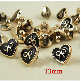 30pcs/lot Heart shape gold edge bowknot pattern shirt buttons plastic black oil,plastic sewing buttons (SS-156)