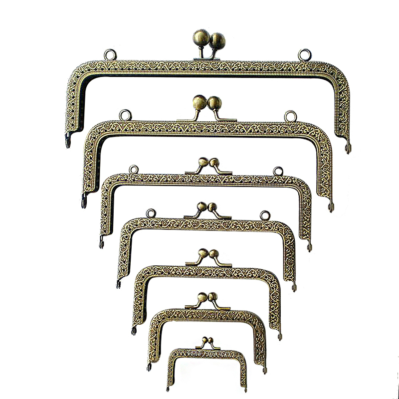 10pcs/Lot Wholesale 8.5-20.5cm Arch Metal Purse Frame Handle for Clutch Bag Handbag Accessories Making Kiss Clasp Lock Hardware 10pcs mixed grid arch metal frame kiss clasps clips coins purse bag clutch lock handle with keyring 5cm