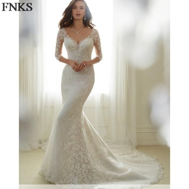 Lace Mermaid Wedding Dresses Sleeves Liqued Trumpet Gowns Chapel Sheer Back Bridal Dress
