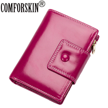 COMFORSKIN Premium 100% Cowhide Oil Wax Leather Magnetic Buckle Women Wallets Guaranteed 2018 Billetera Mujer Hot Vintage Purse