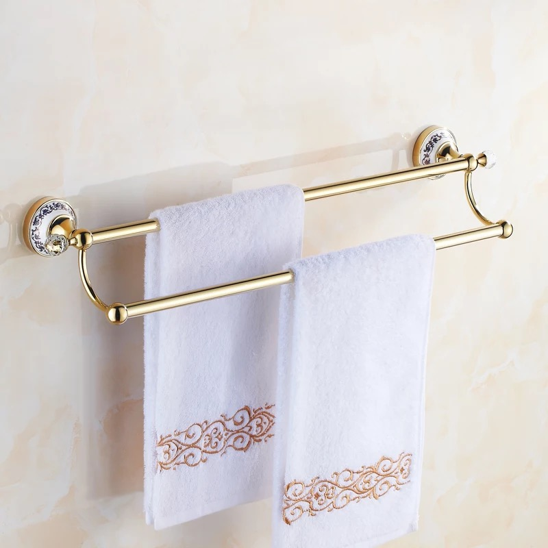 Double towel bars gold crystal ceramic towel Bar,Towel Holder,crystal decoration,Chrome Finished,Bath Products Accessories girls europe the united states children princess long sleeved purple lace flower dress female costume kids clothing bow purple