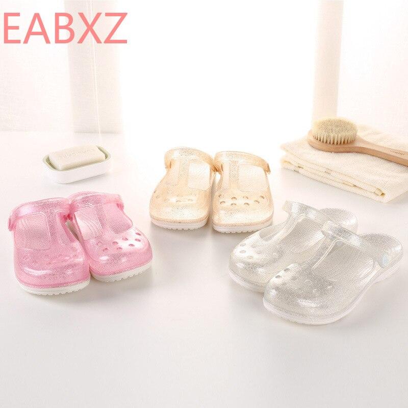 EABXZ HOLE Shoe Girl Wearing Flat-soled Korean Crystal Jelly Slippers Sandals Fashion Anti-skid Nurses Summe Zapatos De Mujer