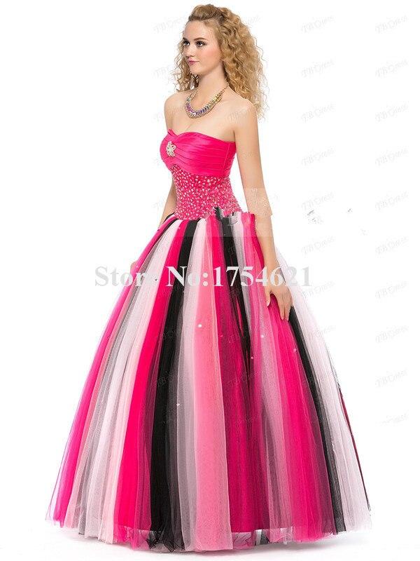 Hermoso blanco negro y rosa debutante una línea vestidos de ...
