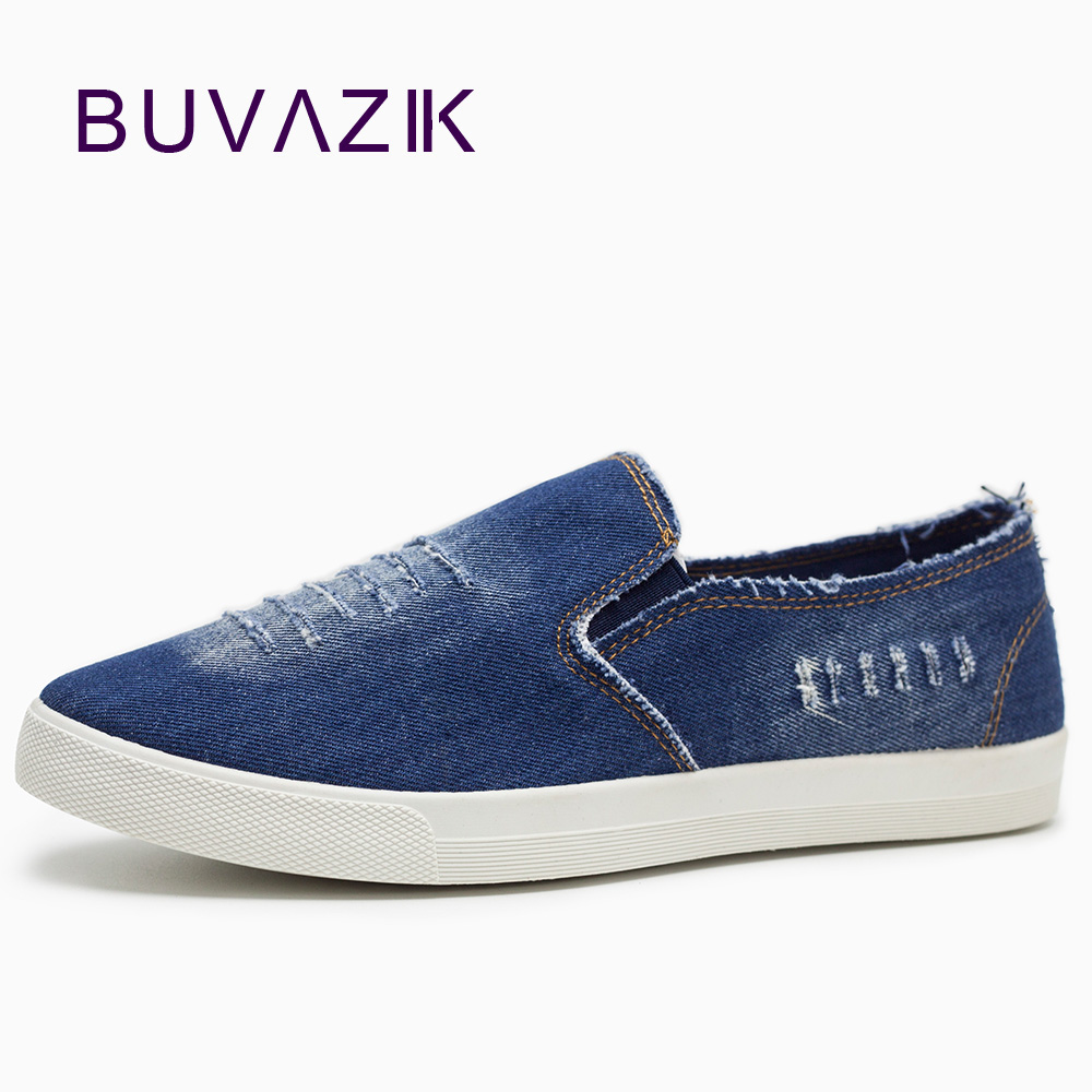 New 2017 Spring and autumn Men Shoes Breathable Slip on Cut out Denim Casual Canvas Shoes
