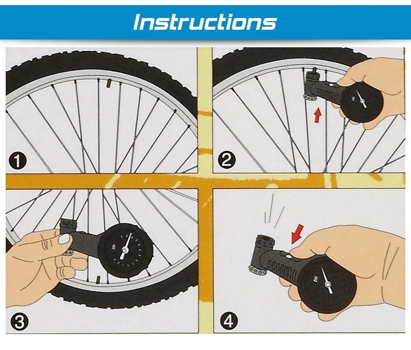 Bicycle Tire Pressure Meter Tire Pressure Gauge Barometer Mountain