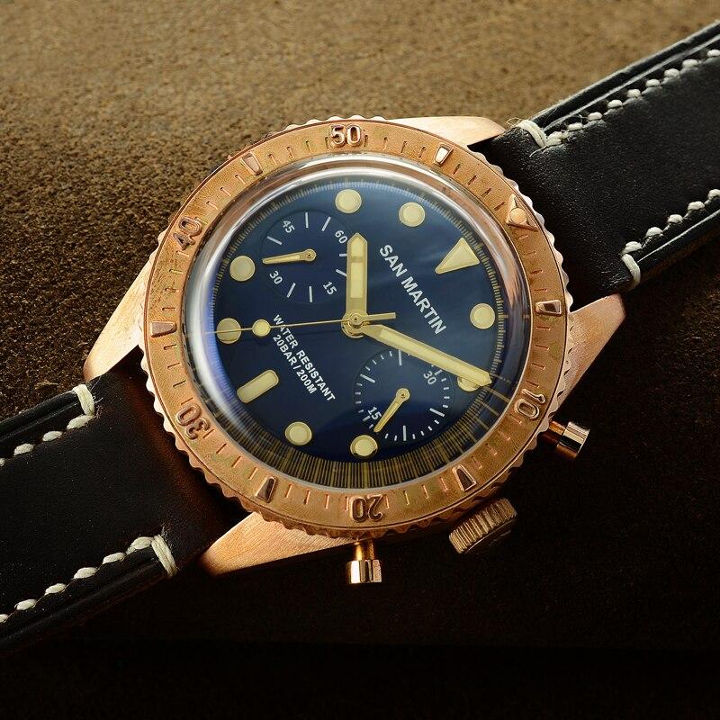 Сан Мартин шестьдесят пять бронзовые автоматические Дайвинг часы Швейцарский ETA7753 хронограф часы 200 MWater Resistant Ретро античный наручные часы