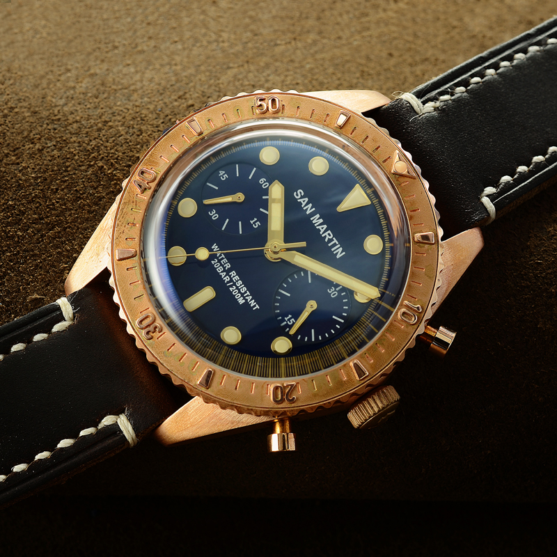 San Martin Sixty-Five Bronze Automatic Diving Watch Swiss ETA7753 Chronograph watch 200MWater Resistant Retro Antique WristwatchSan Martin Sixty-Five Bronze Automatic Diving Watch Swiss ETA7753 Chronograph watch 200MWater Resistant Retro Antique Wristwatch