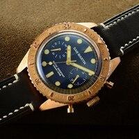 San Martin Sixty Five Bronze Automatic Diving Watch Swiss ETA7753 Chronograph watch 200MWater Resistant Retro Antique Wristwatch