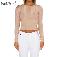 Nadafair O Neck Long Sleeve Lace Up Hollow Out Women Casual T Shirt Black Knitted Cropped