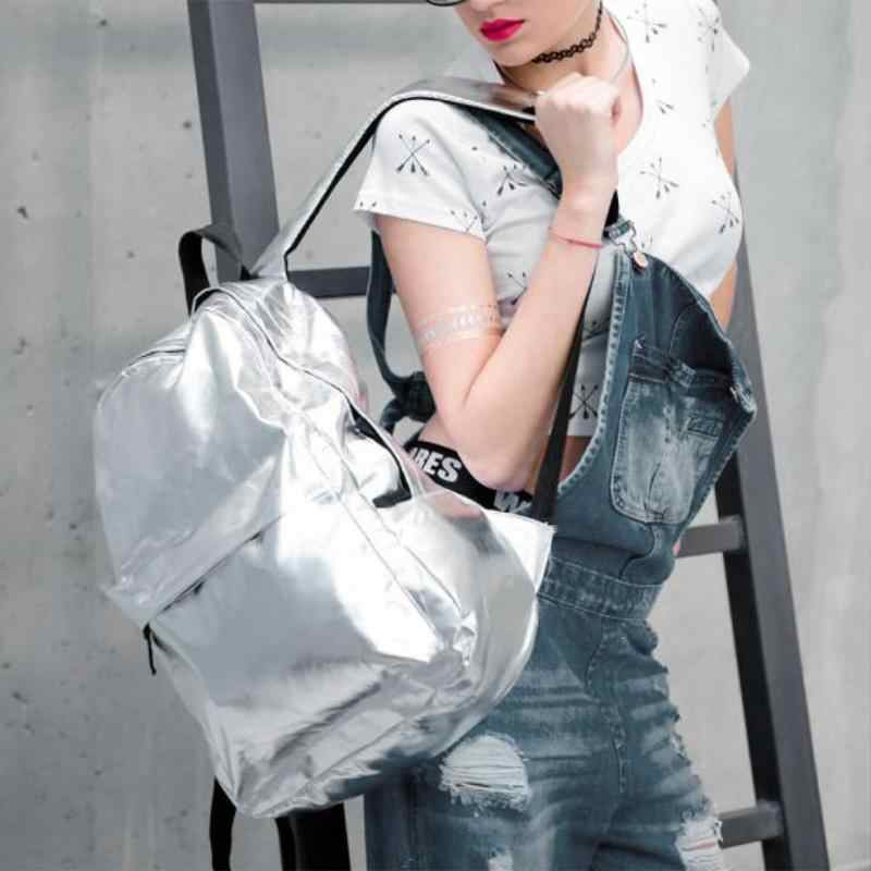 Moda rua feminina/men couro do plutônio à prova dgold água mochilas de viagem ouro bolsa de ombro casual zíper mochila saco escolar