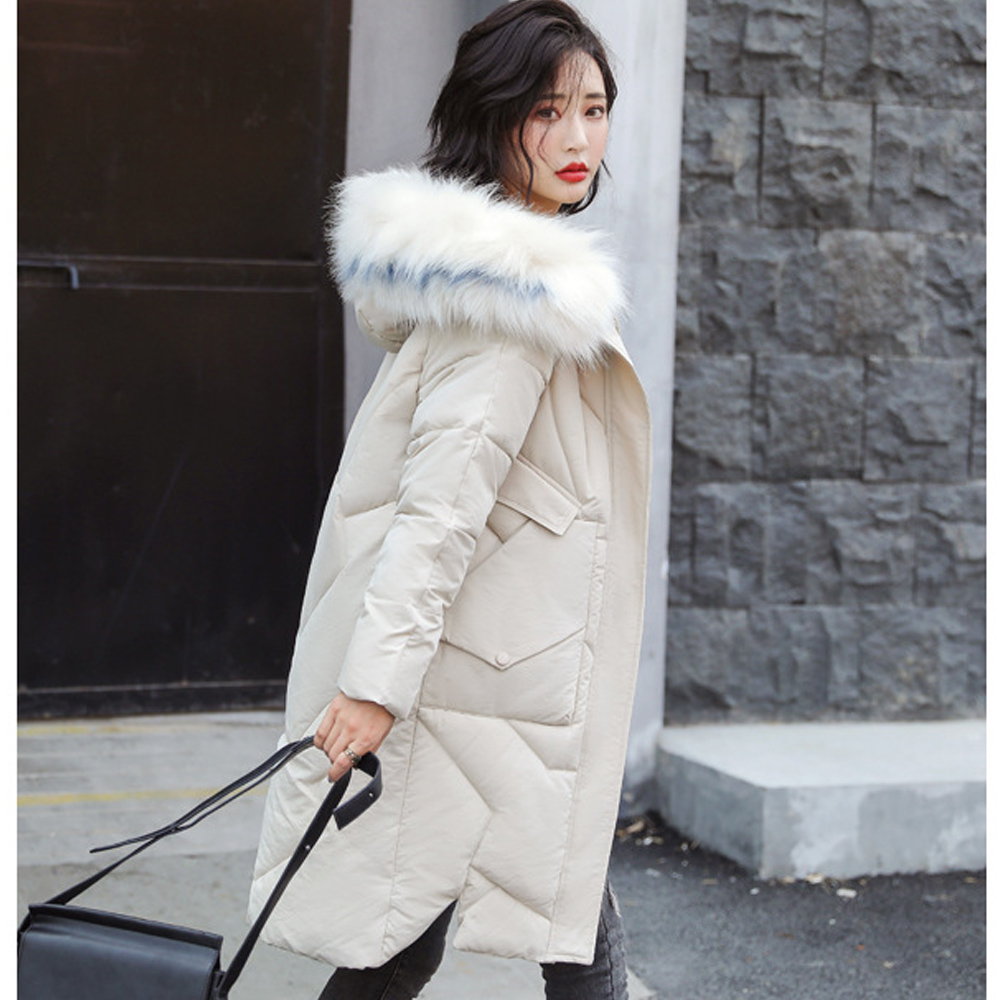 Parka   Plus Size Slim Outwear Female Big Fur Medium-long Thickened Large Down   PARKA   Student's Loose Coat 9806