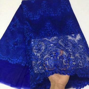 5 yardas/pc Venta caliente real azul francés red encaje flor bordado tela de encaje de malla africana con piedras de cuentas vestido BN80-3