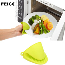 FEIGO 2Pcs Silicone Gloves Cake Bakeware Heat Resistant Oven Glove Short Finger Hand Clip Oven Mitt Convenient Potholder F761 pearland oilers personalized oven mitt