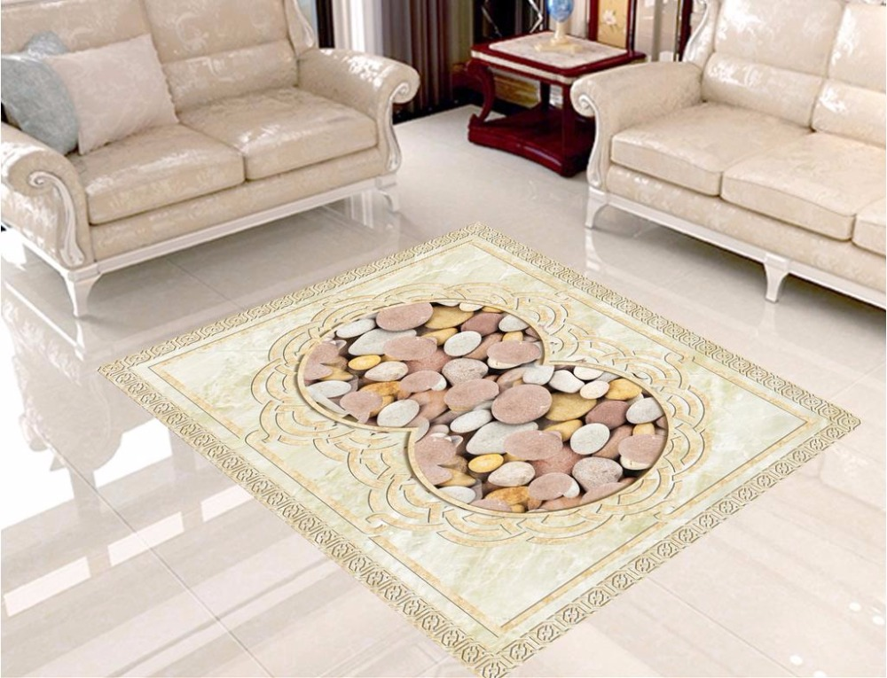3D European 3D Floor Painting Medallion marble pebbles Wallpaper 3D Floor for Bathroom pvc Self adhesive floor 3d floor painting wallpaper 3d fish play pond jade carving floor pvc self adhesive wallpaper 3d flooring