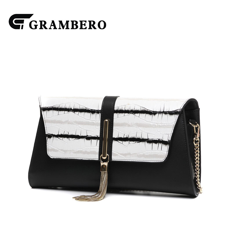 Fashion Cowhide Leather Tassel Clutch Wallet Women Modern Big Purse 2018  New Chain Evening Bag Shoulder Crossbody Bags for Gifts 00ce105592d61