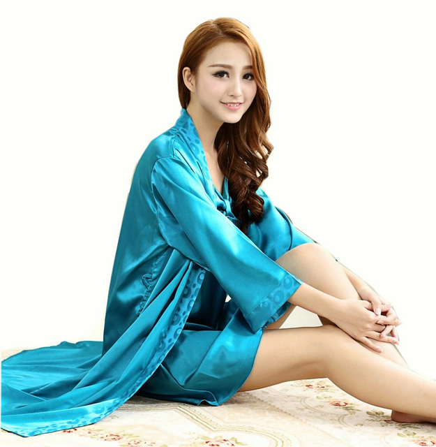 Fashion Lounge Apparel Ladies Satin Robe Set 2015 Hot Sale Blue Silk Robes Spring Autumn Style Sexy Sleepwears Robes For Women
