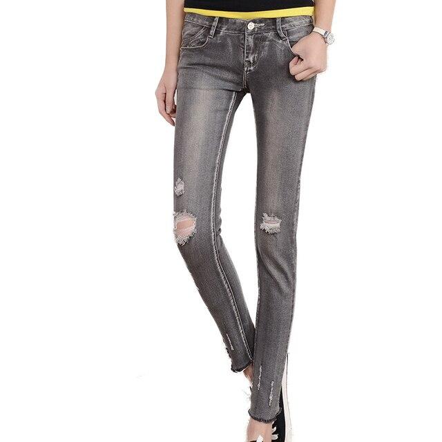 jeans woman Skinny Ripped Jeans Women Classic Washed Elastic Denim Pencil Pants Ladies Slim Hole Distressed Jeans boyfriend
