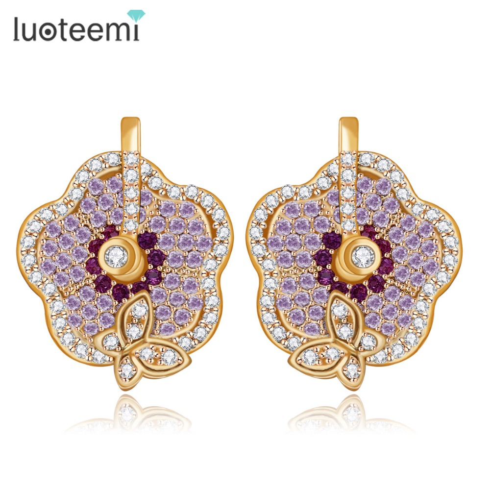LUOTEEMI nové elegantní šperky mikro dlážděné fialové červené čiré CZ šampaňské bílé zlato-barva květin a motýlů roztomilé náušnice