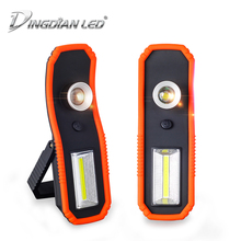 купить 2-in-1 Portable emergency Working Lamp LED Torch magnet Floodlight Tent lamp Outdoor Camping Light Zoomable Flashlight with Hook дешево