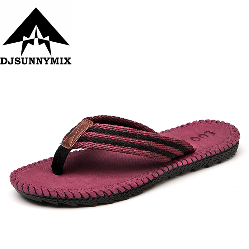 DJSUNNYMIX Summer Fashion Men's flip flops Beach Sandals for Men Flat Slippers non-slip Shoes plus size 45  striped Sandals fashion summer flat slippers female soft indoor slip resistant outsole flip sandals plus size beach shoes