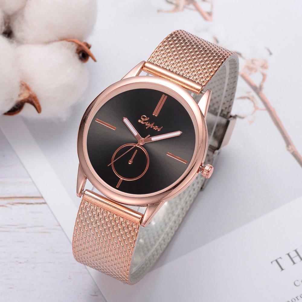 Lvpai Gold Women Bracelet Watches Quartz Silicone Strap Band Watch Analog Wrist Watch Women Clock Reloj Dress Sport Watches Q