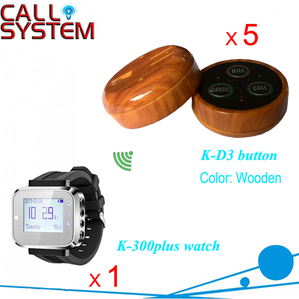 Service Calling Bell System 1 watch pager 5 transmitter 3-key buzzer for bistec restaurant service call bell pager system 4pcs of wrist watch receiver and 20pcs table buzzer button with single key
