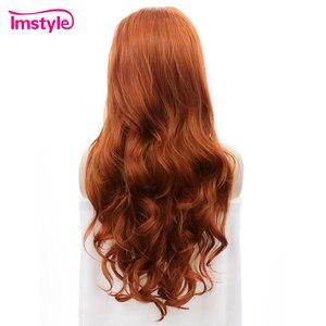 Image 4 - Imstyle Auburn Oranje Pruiken Lange Golvende Synthetische Lace Front Pruiken Voor Vrouwen Gratis Deel Hittebestendige Vezel Lijmloze Dames Pruik