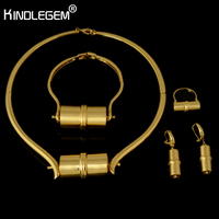 Kindlegem Brand Choker Necklace Unique Wheel Pendant Dubai African Jewelry Set For Women Luxury Gold Color Costume Jewelry