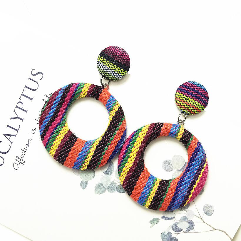 New Dangle Big Round Earrings For Women Fashion Handmade Square Geometric Earrings 2019 Statement Drop Earrings