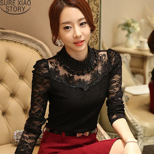 2019 Sexy Lace Tops Autumn blusas new Slim Plus size lace blouse long sleeve Casual shirt beaded openwork Women clothing 800B 25