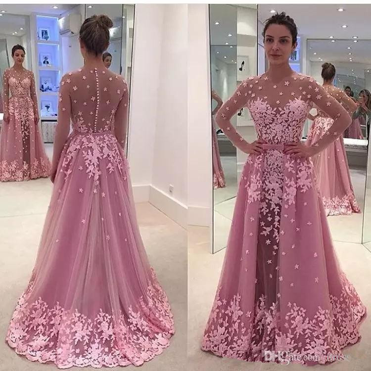 Pink Muslim   Evening     Dresses   2019 Mermaid Long Sleeves Tulle Appliques Islamic Dubai Saudi Arabic Long Formal   Evening   Gown Prom