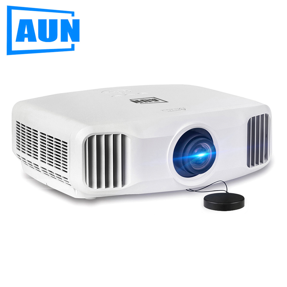 AUN 3LCD Projector Support 4K Decode 850ANSI Lumens, 2K Resolution 1920x1200, Built-in Android 5.1 WIFI Bluetooth. AKEY2 everyone gain video projector 3000 lumens highlight build in speaker android 4 2 support 1080p movie proyector tl300