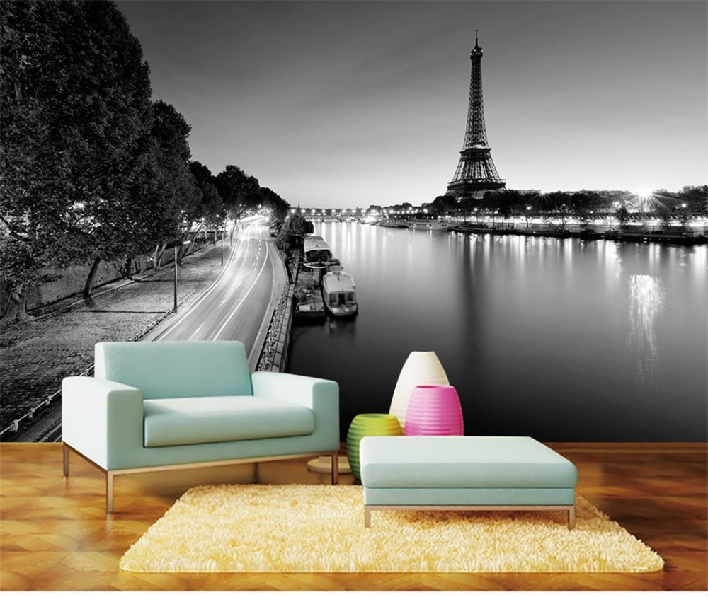 US $8 96 OFF Custom Wallpaper 3D Paris Tower Simple Black And White Landscape Painting Interior Background Wall Wallpaper Wallpapers
