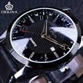 Exibição de Tempo de Viagem Série Completa Black Dial Calendário Orkina Preto Pulseira de Couro Genuíno Dos Homens Relógios Top Marca de Luxo Relógio de Quartzo