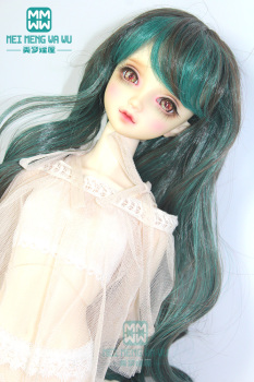 BJD doll clothes accessories fit 1/3 1/4 1/6 BJD/SD Doll Wigs Long Pear volume hair Black and green color mixing 096 image
