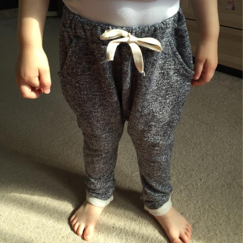 2016 Autumn Girls & Boy Harem Capris Pants For Age 2-10 Cotton Candy Color Terry Child Clothing Solid Kids Children Long Pants
