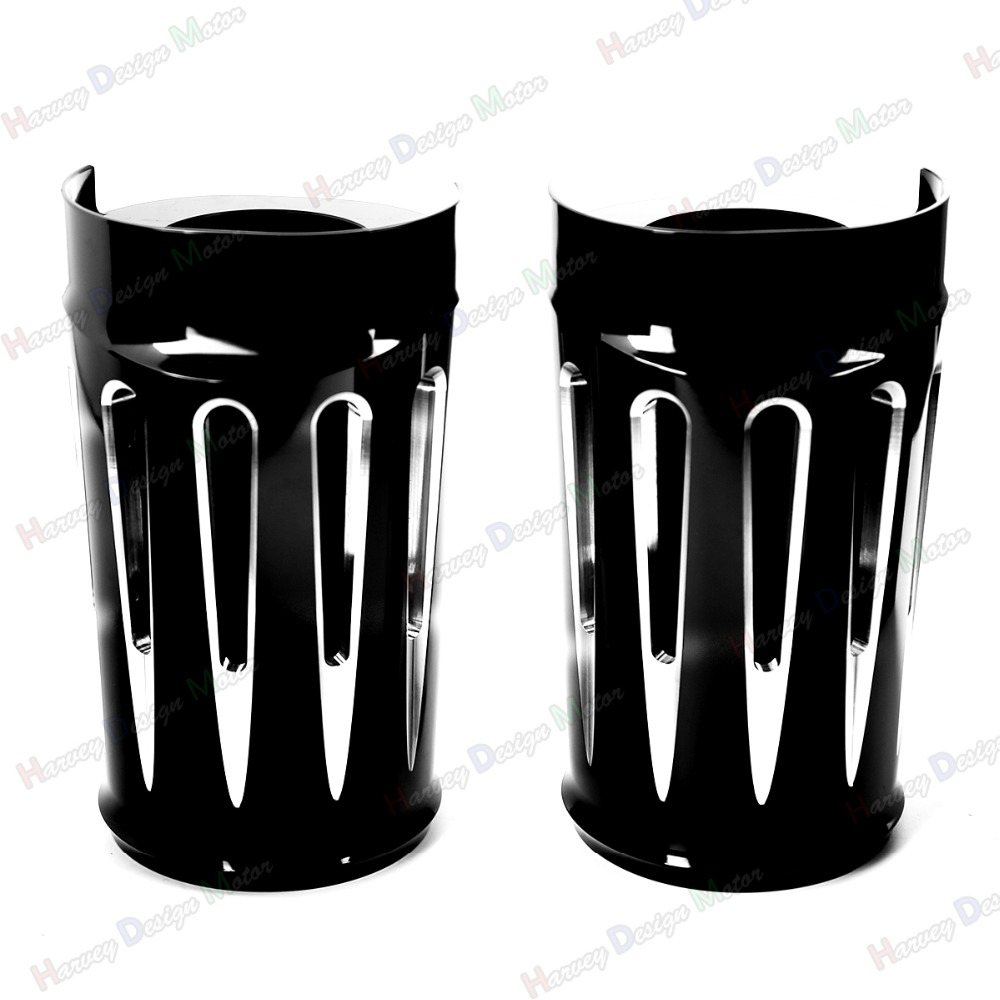 Black Deep Cut Upper Boot Slider Fork Covers for Harley Touring 2014-2016 Electra Glide Road King Street Glide cnc edge cut upper boot slider fork covers for harley davidson touring 1984 2013 electra glide road king street glide motorcycle